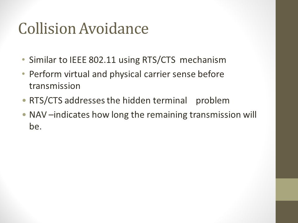 Collision Avoidance Similar to IEEE 802.11 using RTS/CTS mechanism