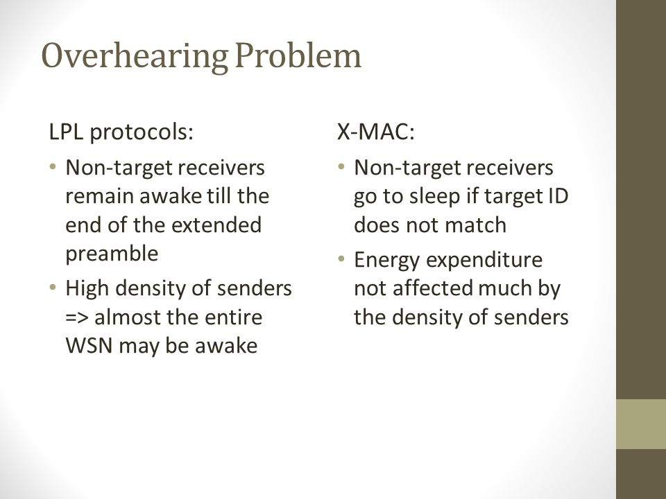 Overhearing Problem LPL protocols: X-MAC: