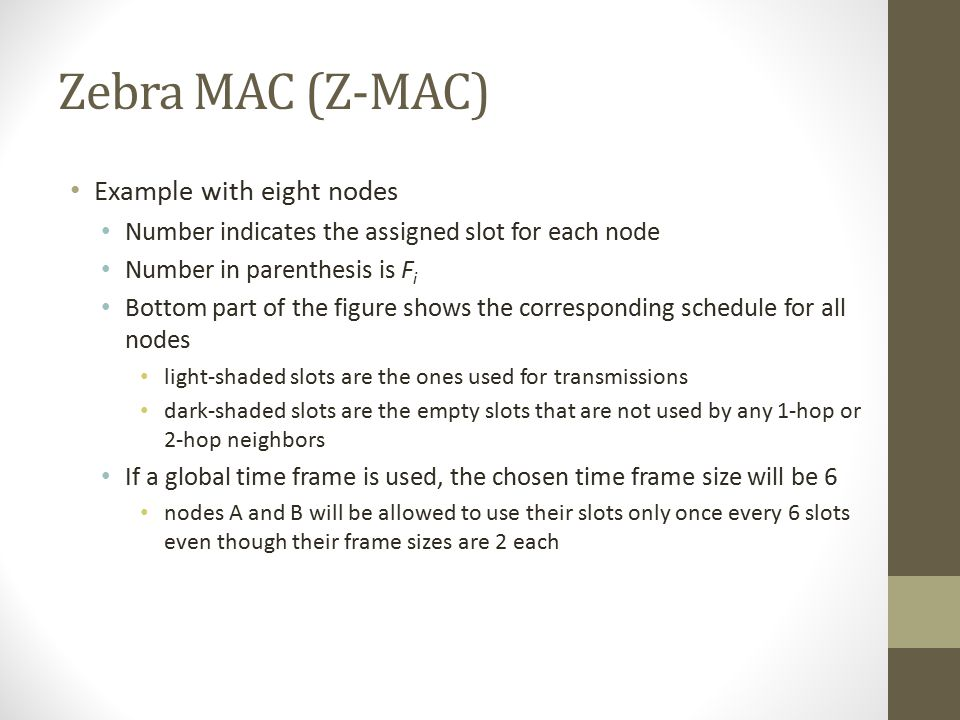 Zebra MAC (Z-MAC) Example with eight nodes