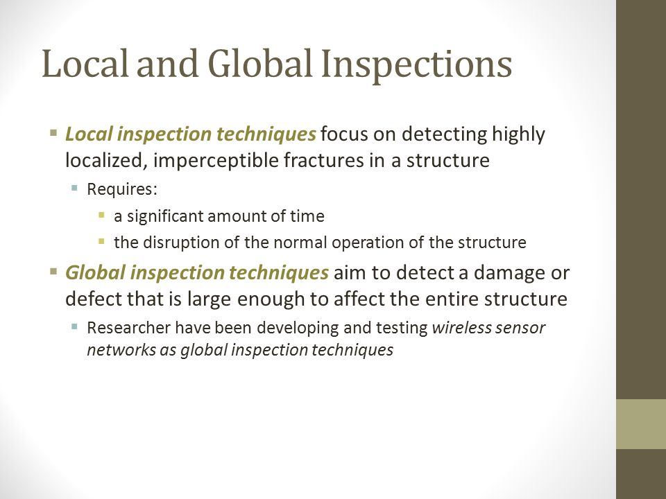 Local and Global Inspections