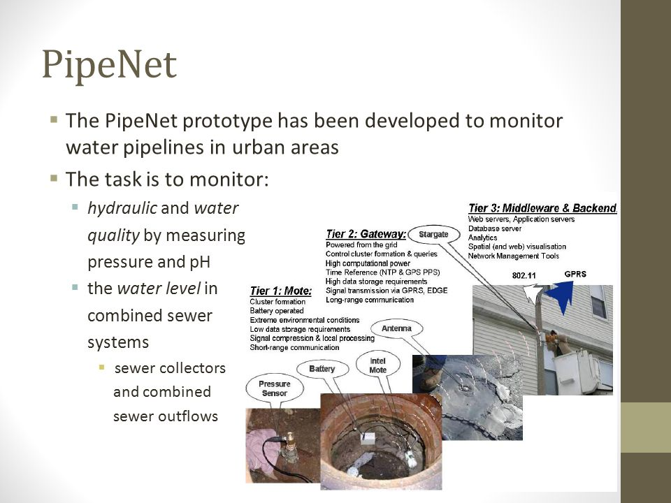 PipeNet The PipeNet prototype has been developed to monitor water pipelines in urban areas. The task is to monitor: