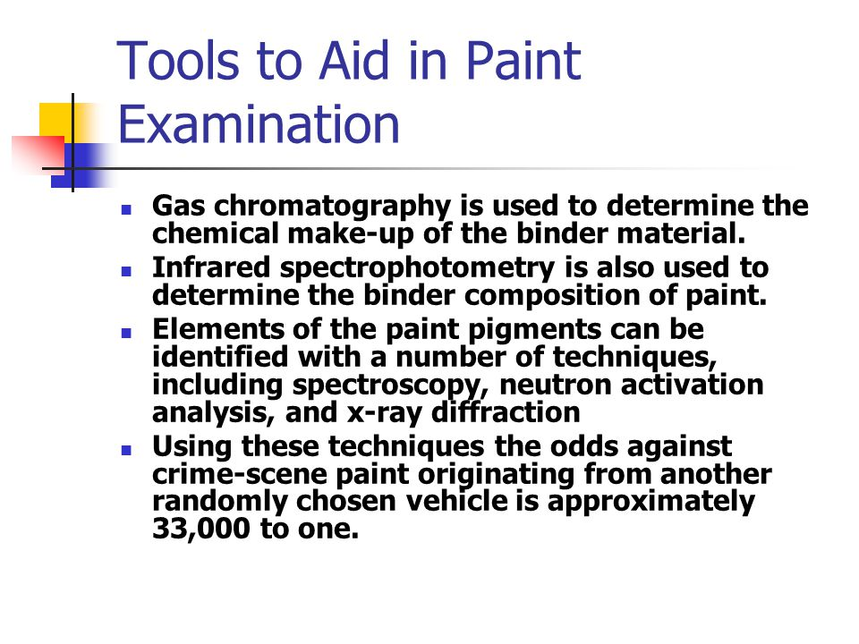 Tools to Aid in Paint Examination