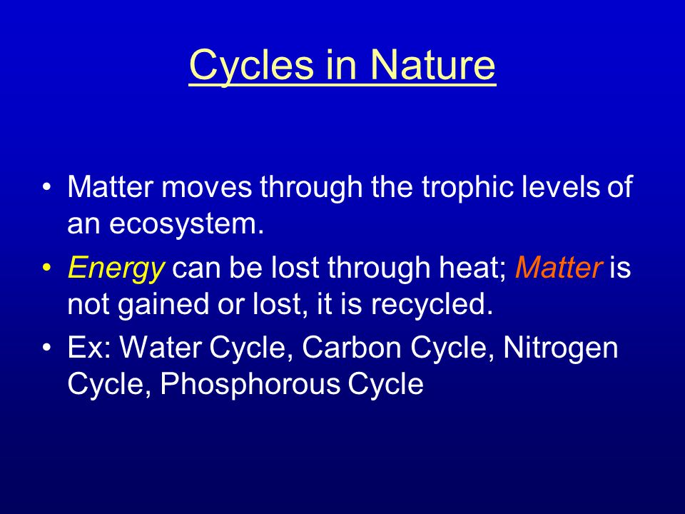 Cycles in Nature Matter moves through the trophic levels of an ecosystem.