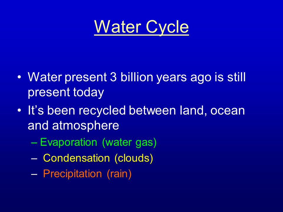 Water Cycle Water present 3 billion years ago is still present today