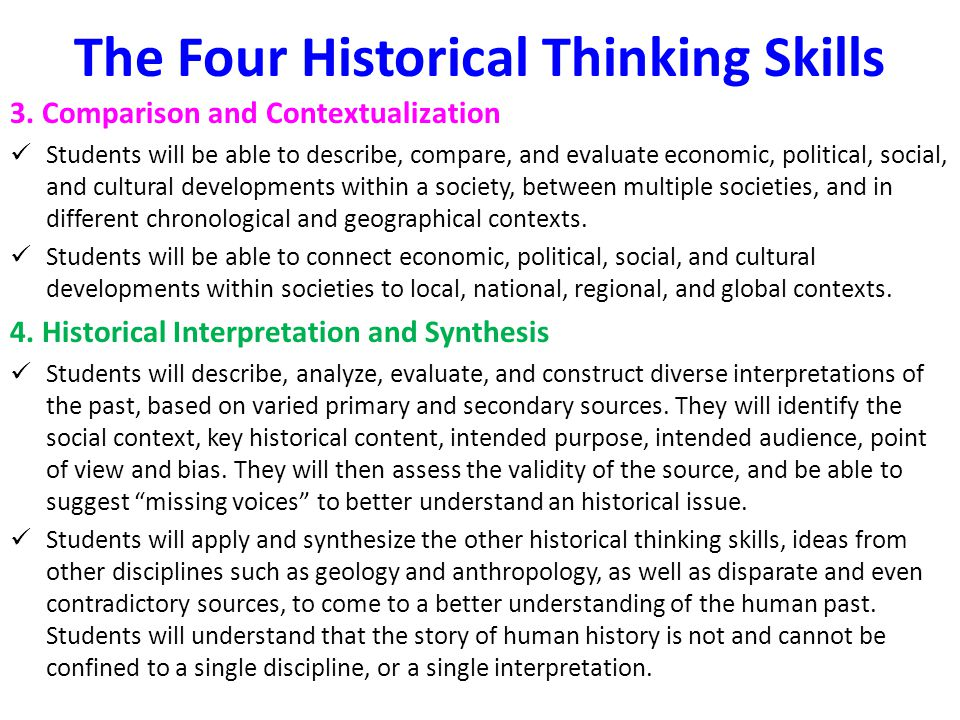 The Four Historical Thinking Skills