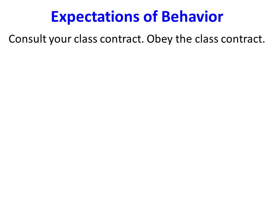 Expectations of Behavior