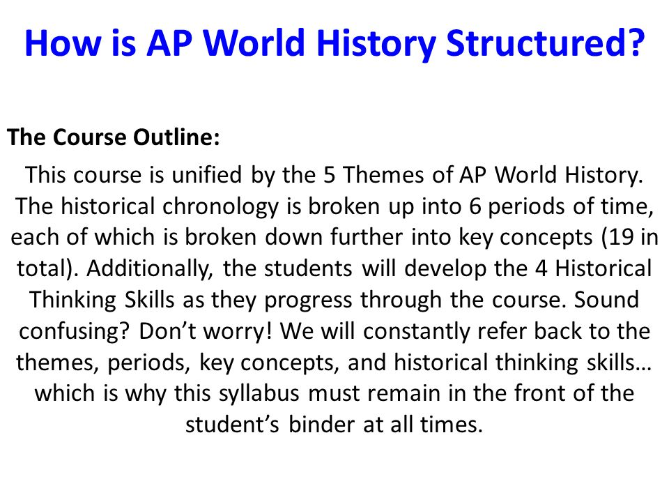 How is AP World History Structured