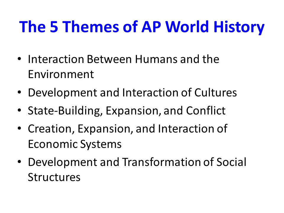 The 5 Themes of AP World History