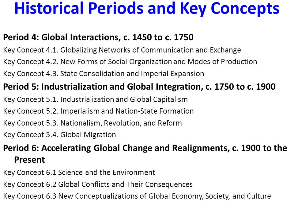 Historical Periods and Key Concepts