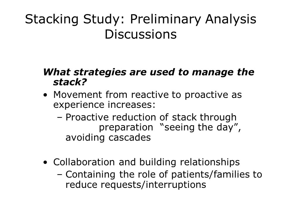 Stacking Study: Preliminary Analysis Discussions