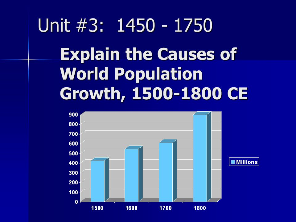 Unit #3: 1450 - 1750 Explain the Causes of World Population Growth, 1500-1800 CE