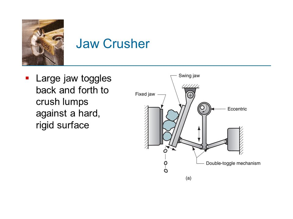 Jaw Crusher Large jaw toggles back and forth to crush lumps against a hard, rigid surface