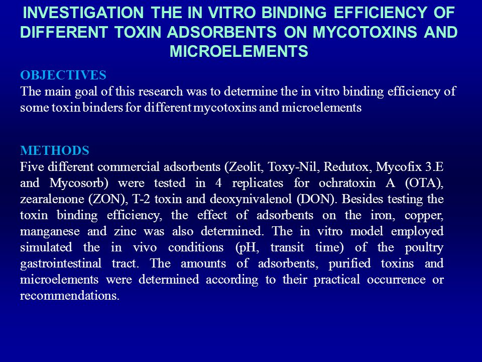 Investigation the in vitro binding efficiency of different toxin adsorbents on mycotoxins and microelements
