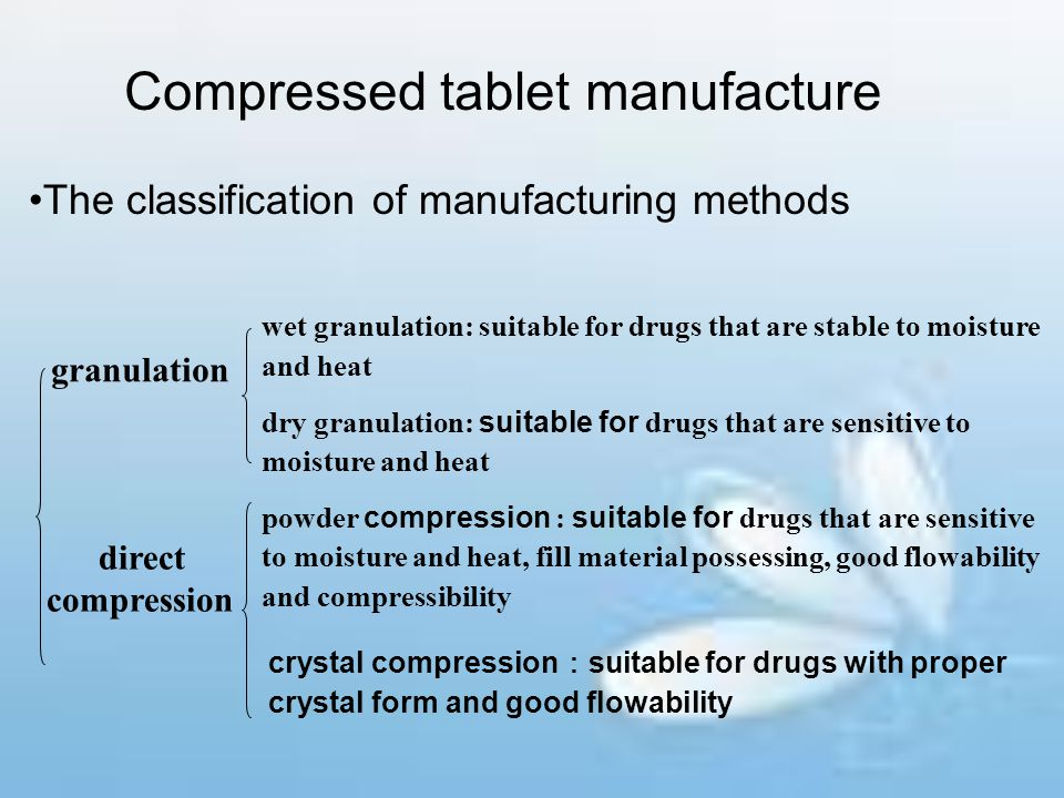 Compressed tablet manufacture