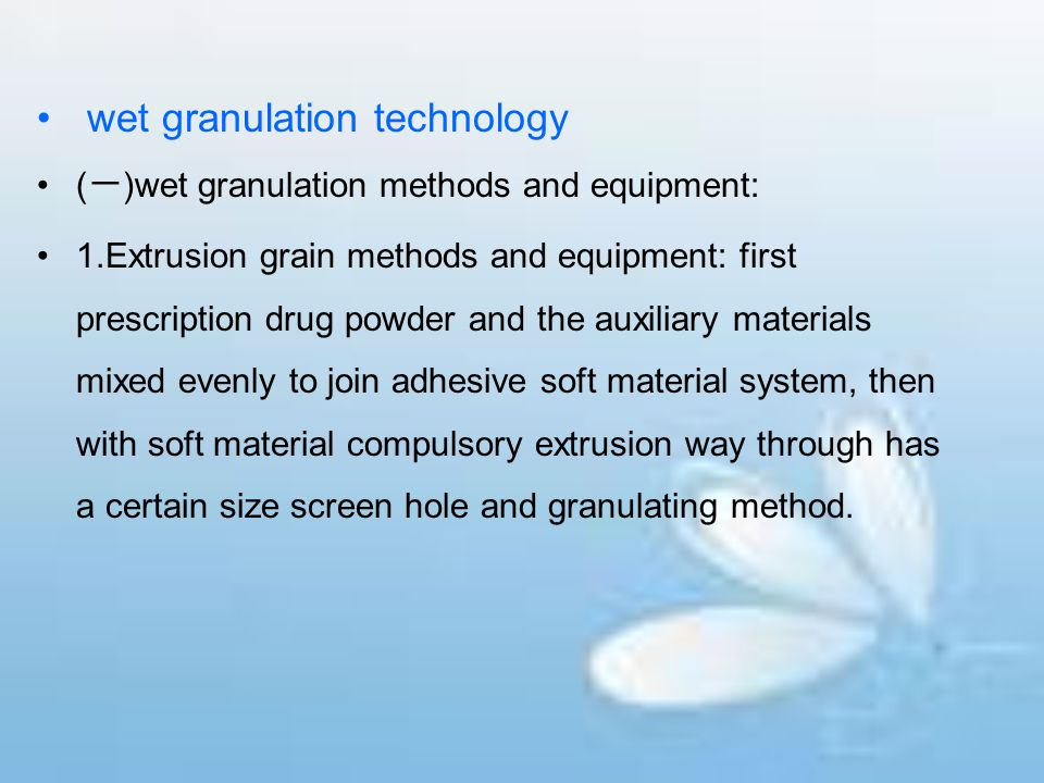 wet granulation technology