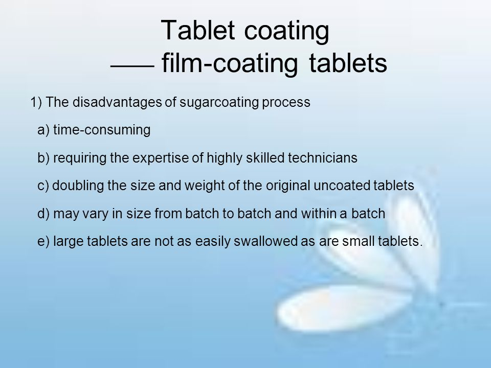 Tablet coating —— film-coating tablets