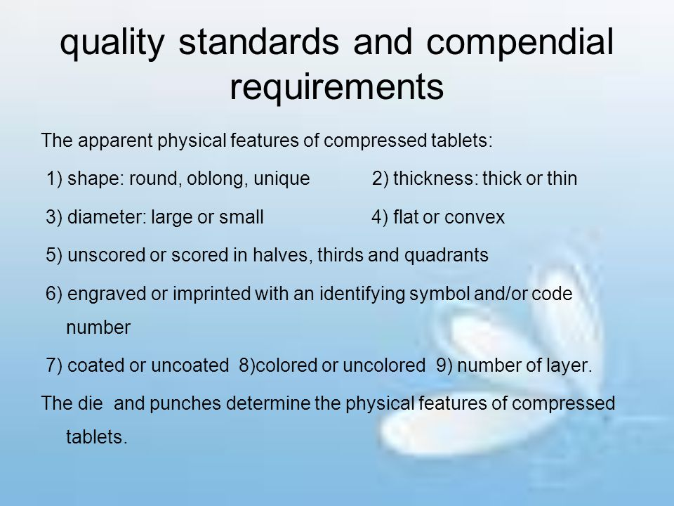 quality standards and compendial requirements