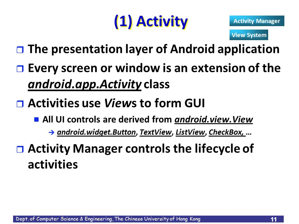 (1) Activity The presentation layer of Android application
