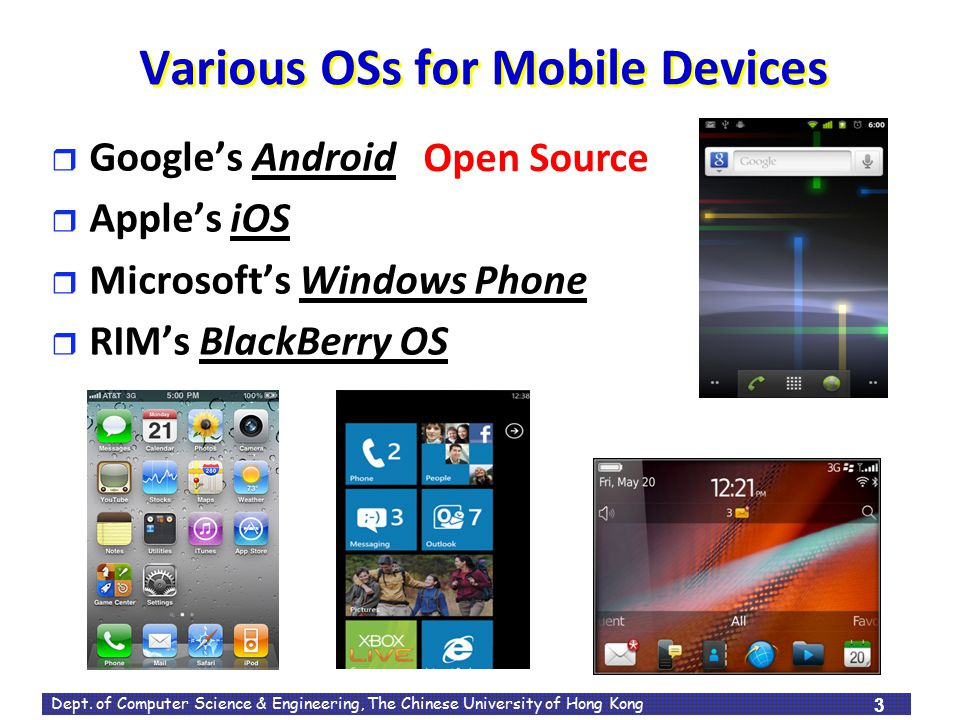 Various OSs for Mobile Devices