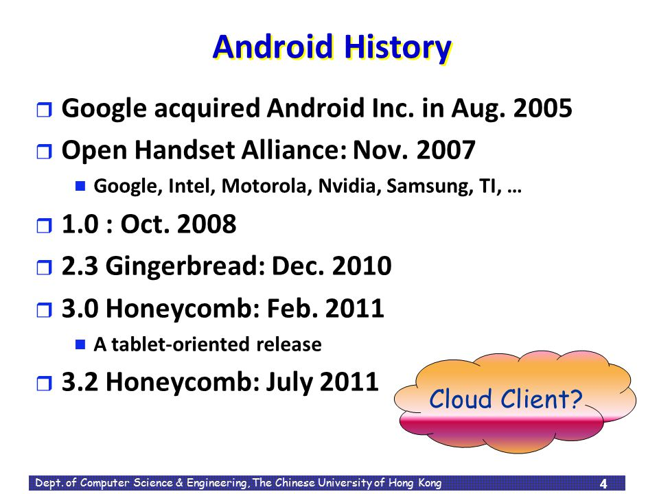 Android History Google acquired Android Inc. in Aug. 2005