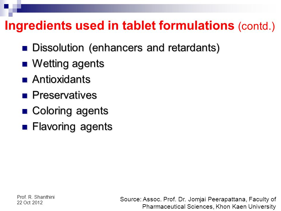 Ingredients used in tablet formulations (contd.)