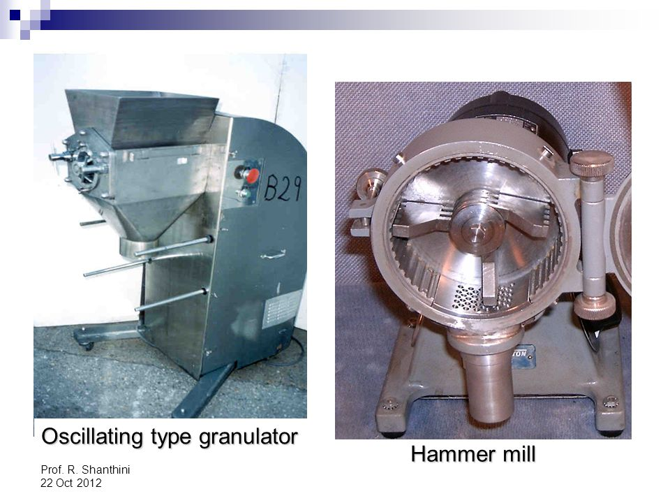 Oscillating type granulator Hammer mill