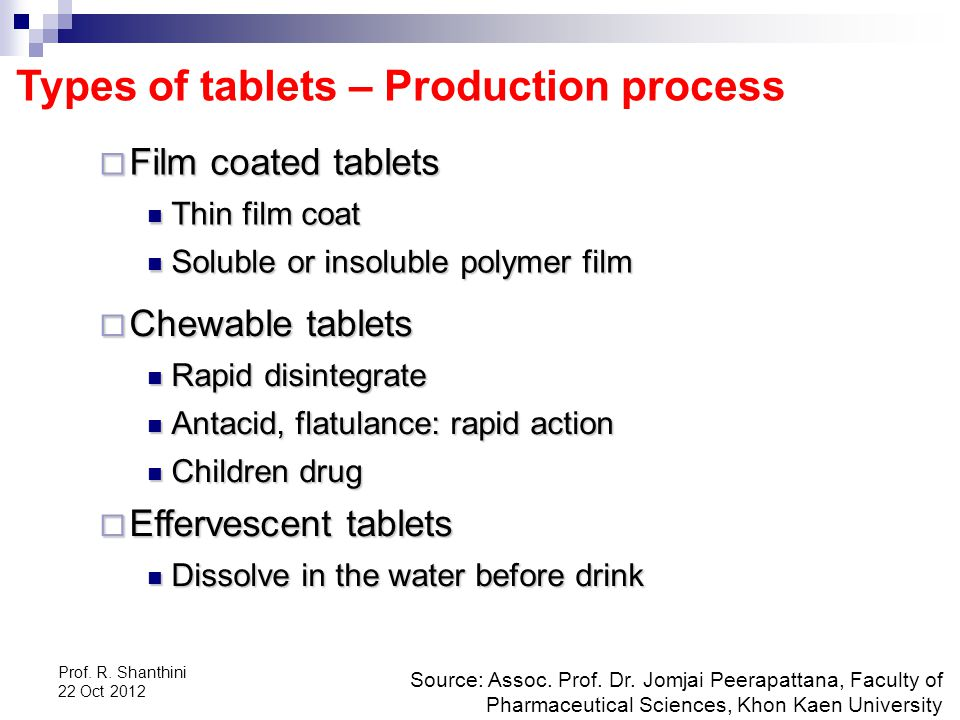 Types of tablets – Production process