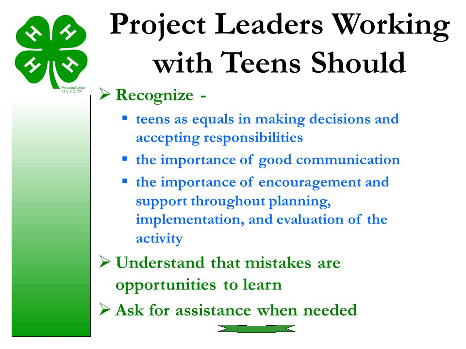 Project Leaders Working with Teens Should
