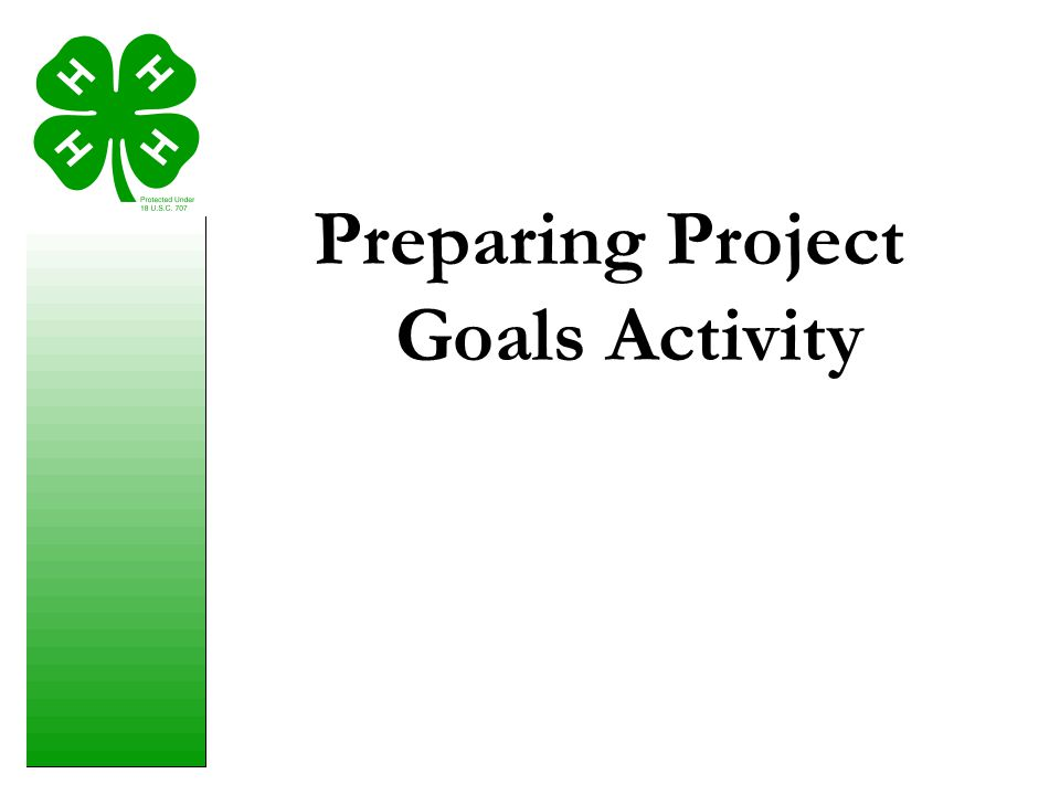 Preparing Project Goals Activity