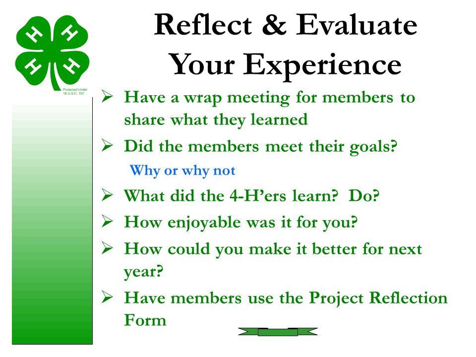 Reflect & Evaluate Your Experience