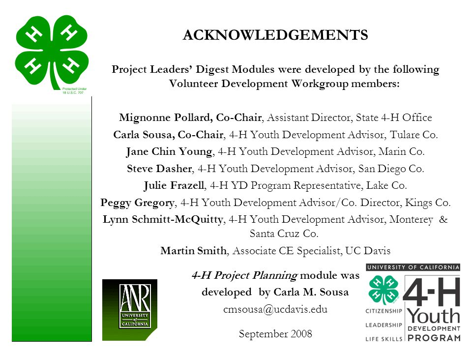 4-H Project Planning module was developed by Carla M. Sousa