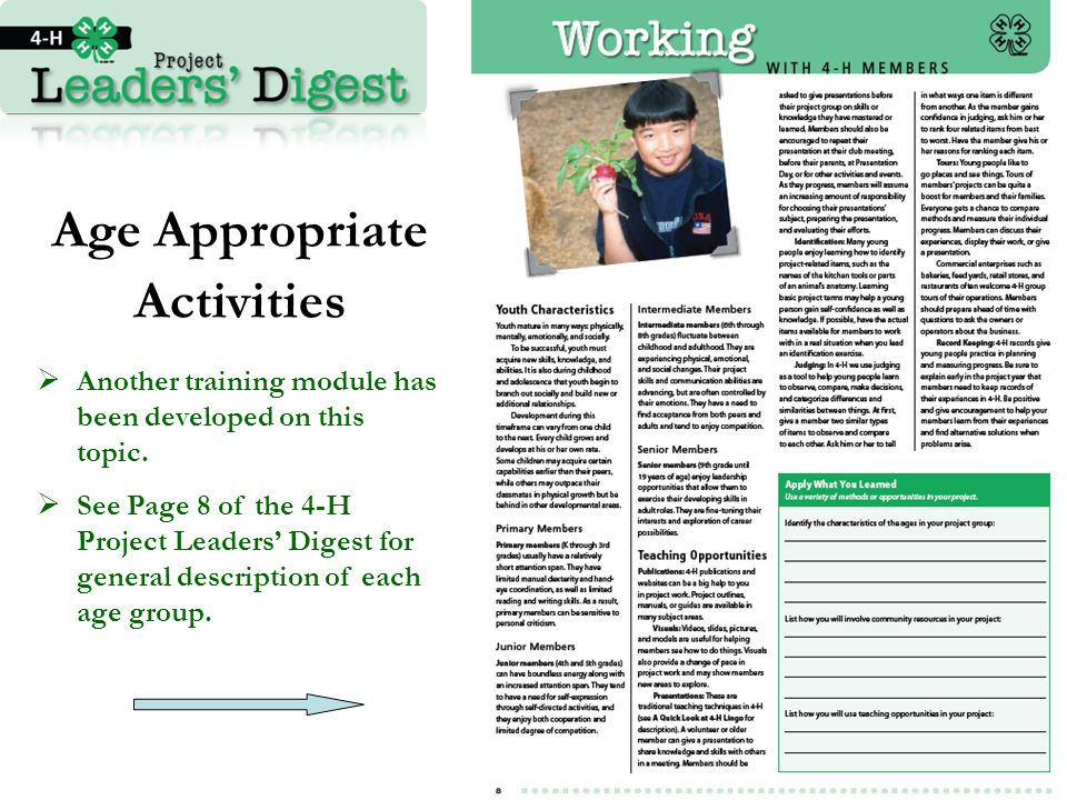 Age Appropriate Activities