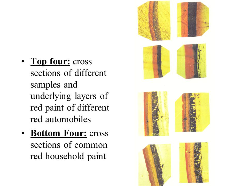 Top four: cross sections of different samples and underlying layers of red paint of different red automobiles