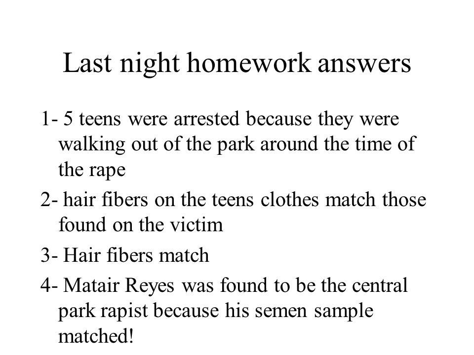 Last night homework answers