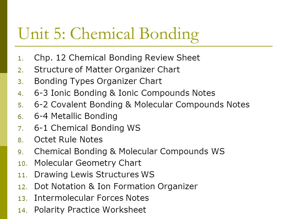 Unit 5: Chemical Bonding