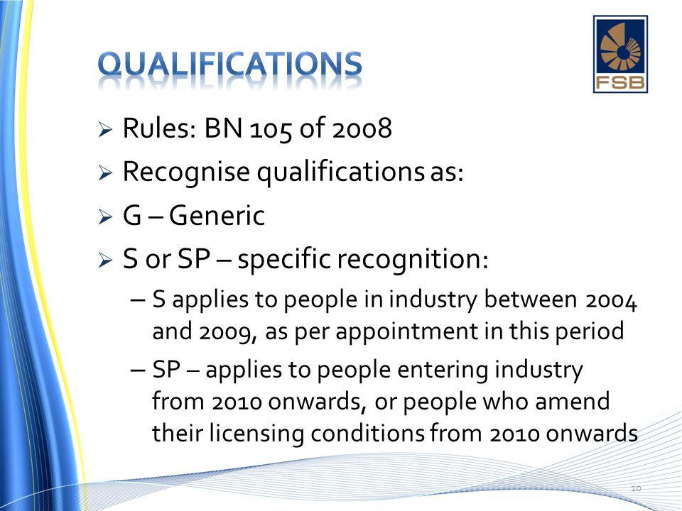 Qualifications Rules: BN 105 of 2008 Recognise qualifications as: