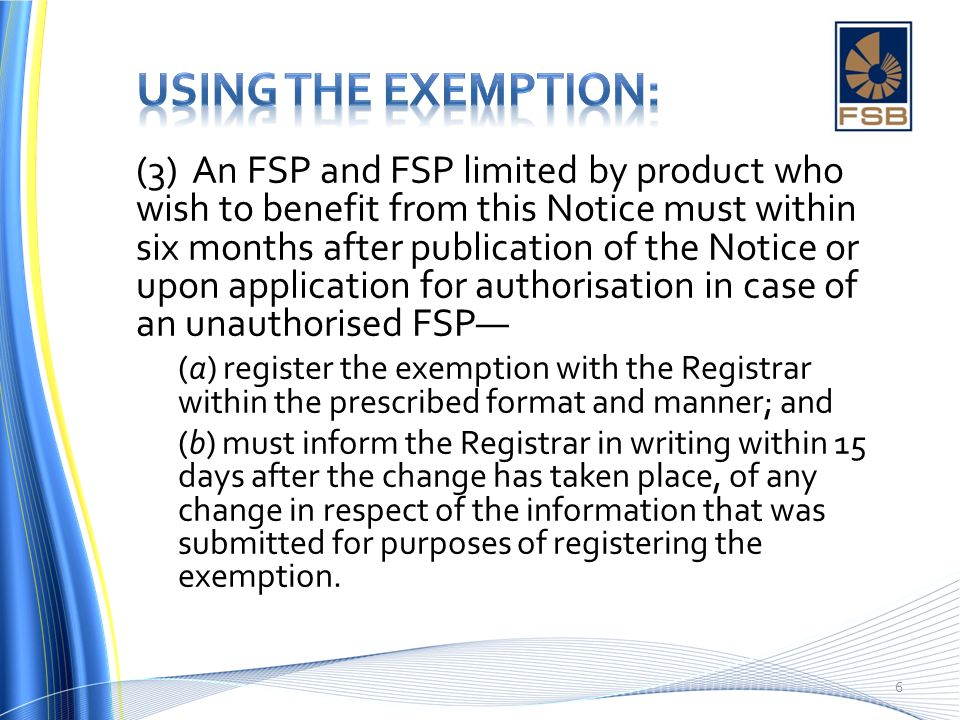 Using the exemption: