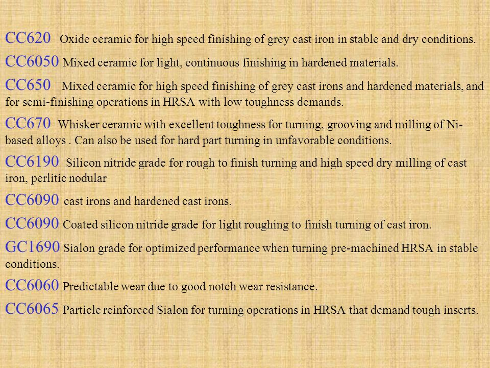 CC620 Oxide ceramic for high speed finishing of grey cast iron in stable and dry conditions.