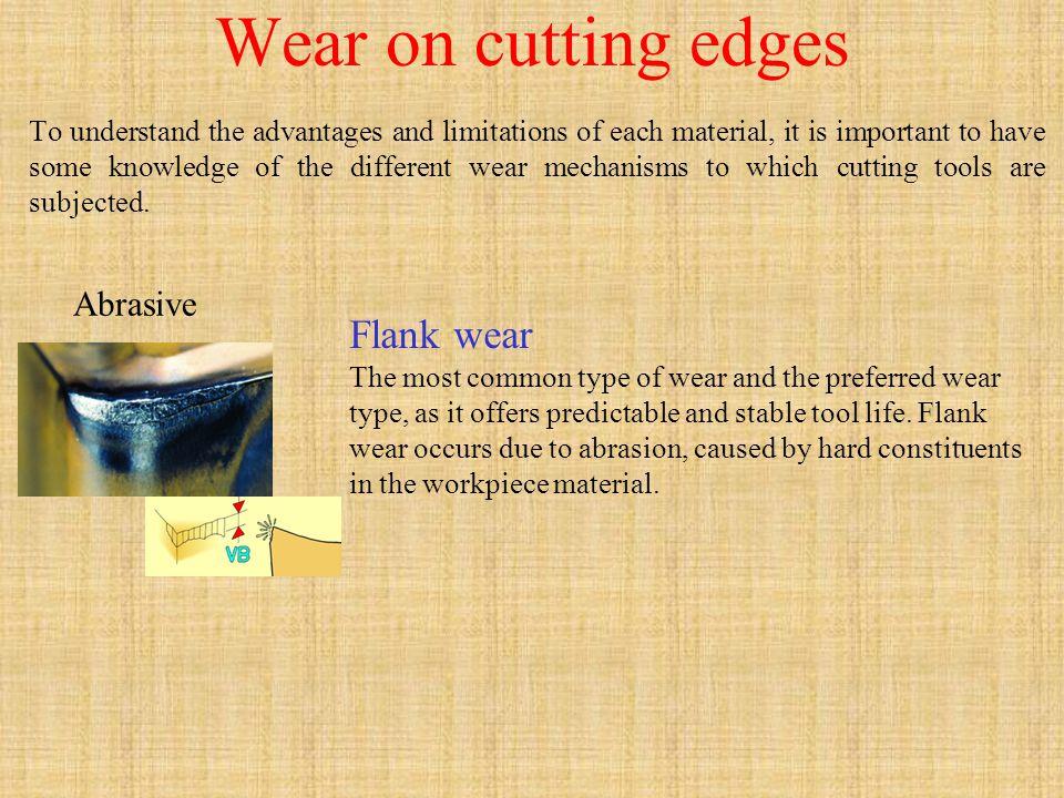 Wear on cutting edges Flank wear Abrasive