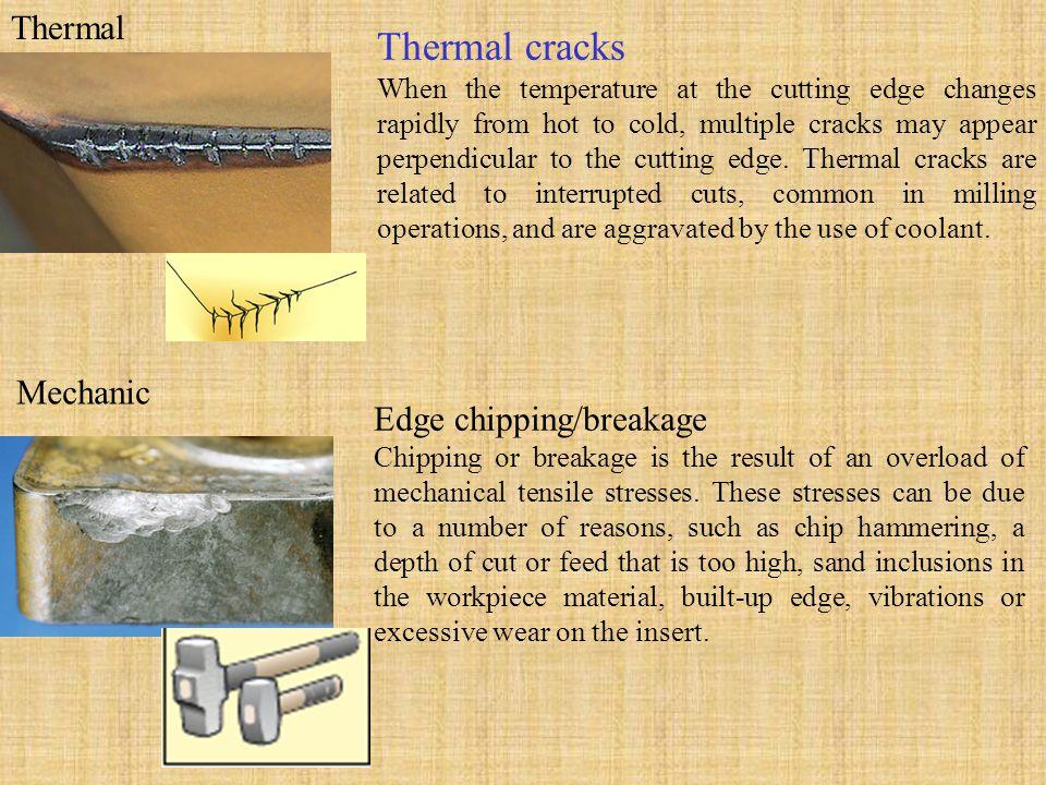 Thermal cracks Thermal Mechanic Edge chipping/breakage