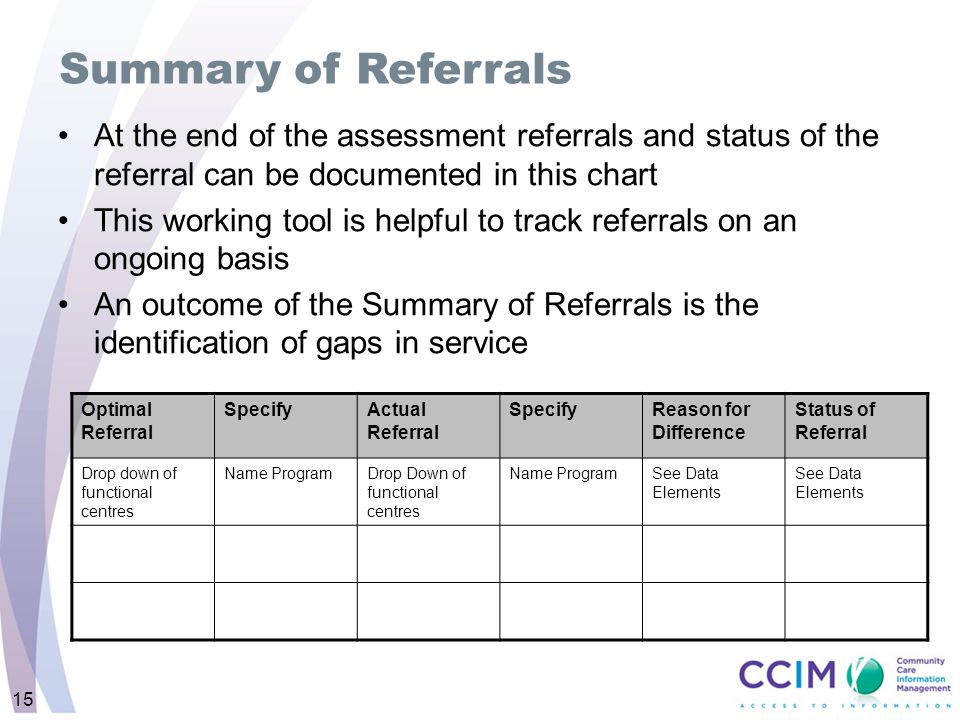 Summary of Referrals At the end of the assessment referrals and status of the referral can be documented in this chart.