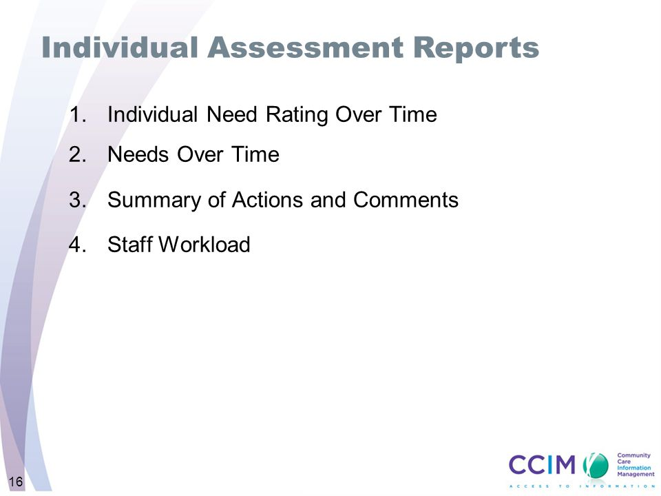 Individual Assessment Reports