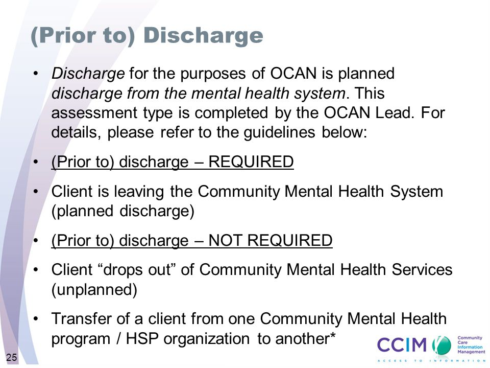 (Prior to) Discharge