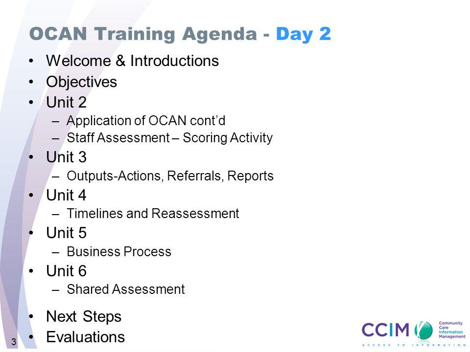 OCAN Training Agenda - Day 2