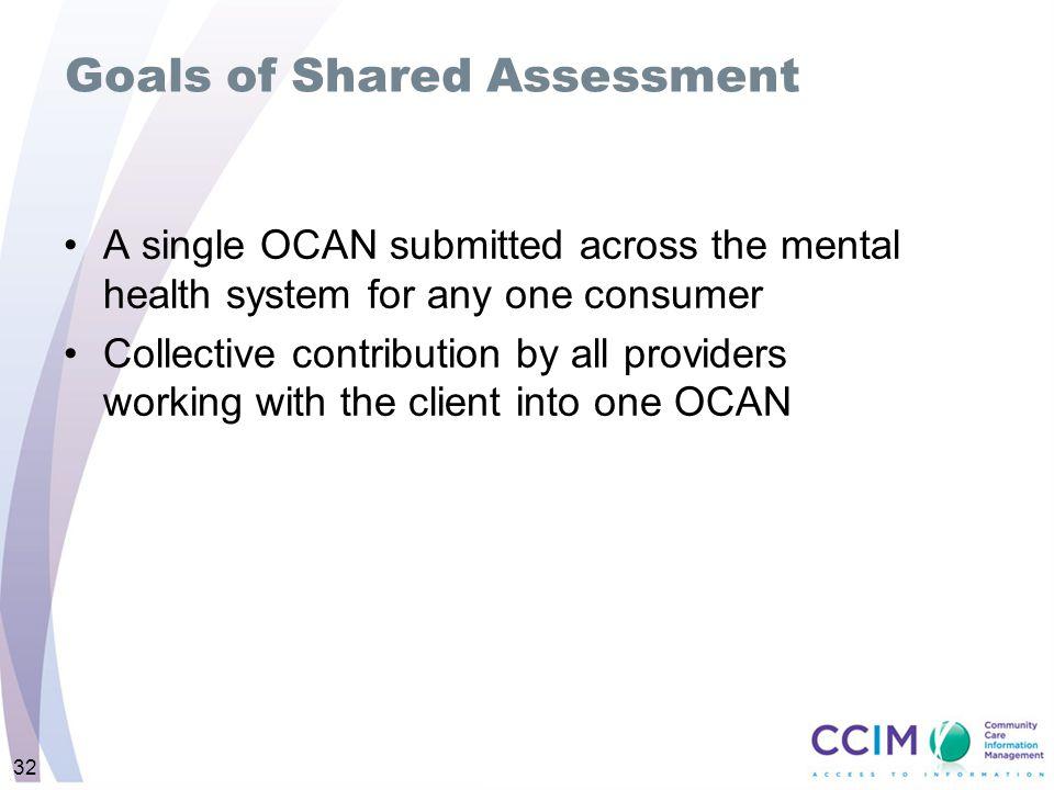 Goals of Shared Assessment