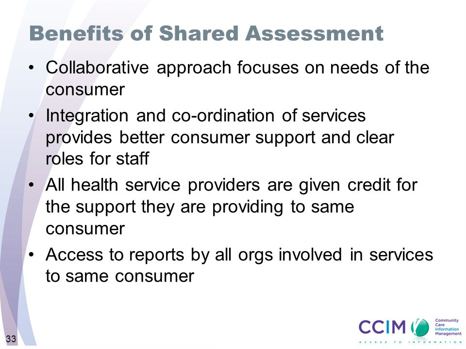 Benefits of Shared Assessment