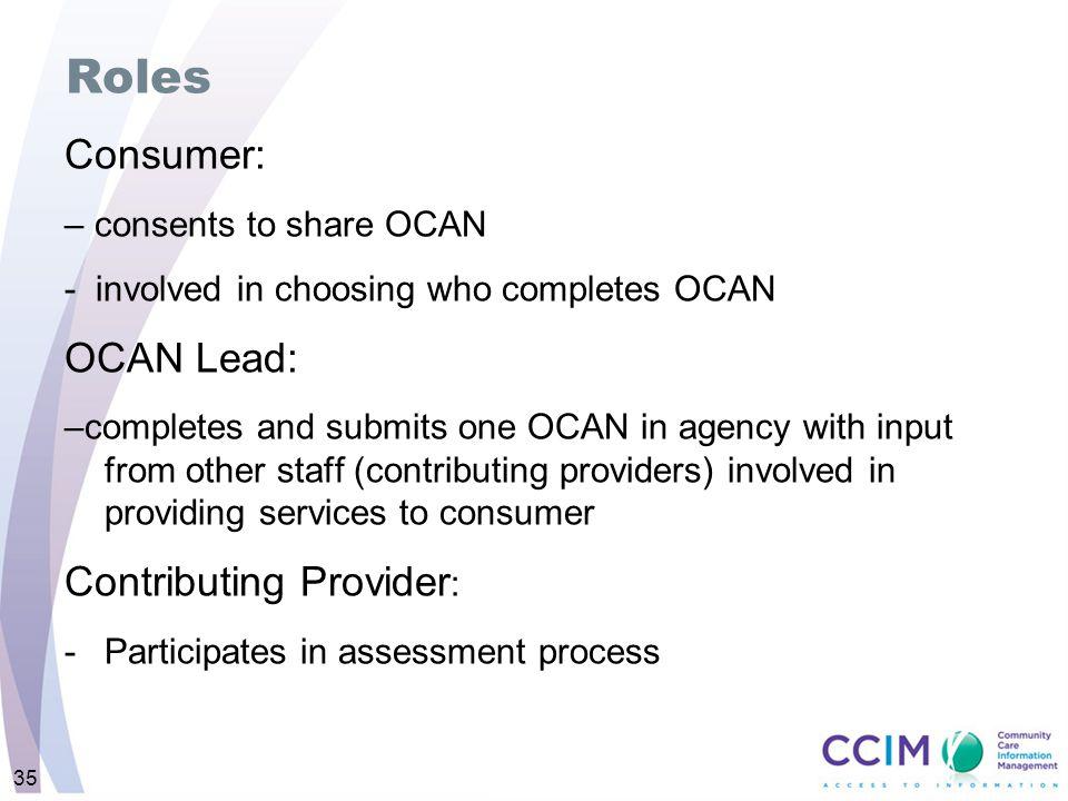 Roles Consumer: OCAN Lead: Contributing Provider: