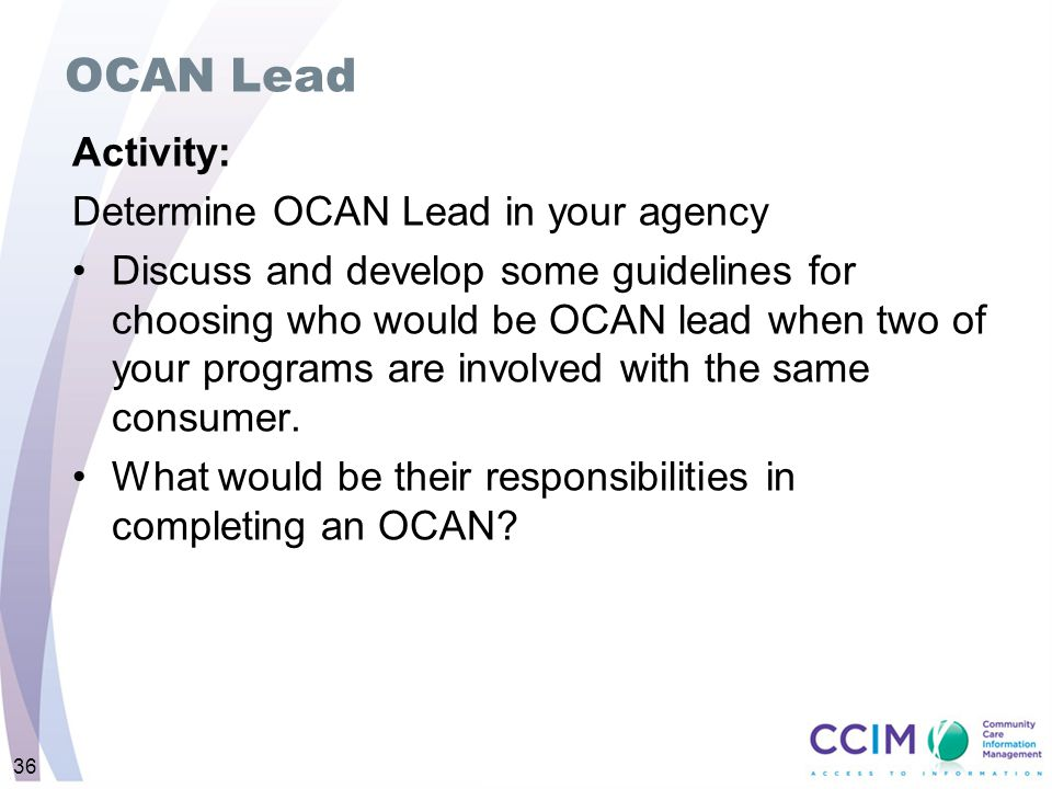 OCAN Lead Activity: Determine OCAN Lead in your agency