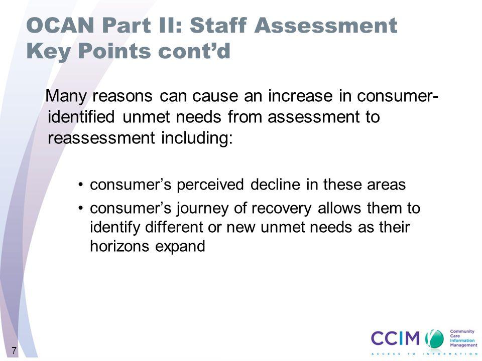 OCAN Part II: Staff Assessment Key Points cont'd