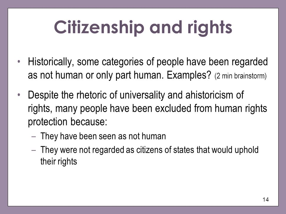Citizenship and rights